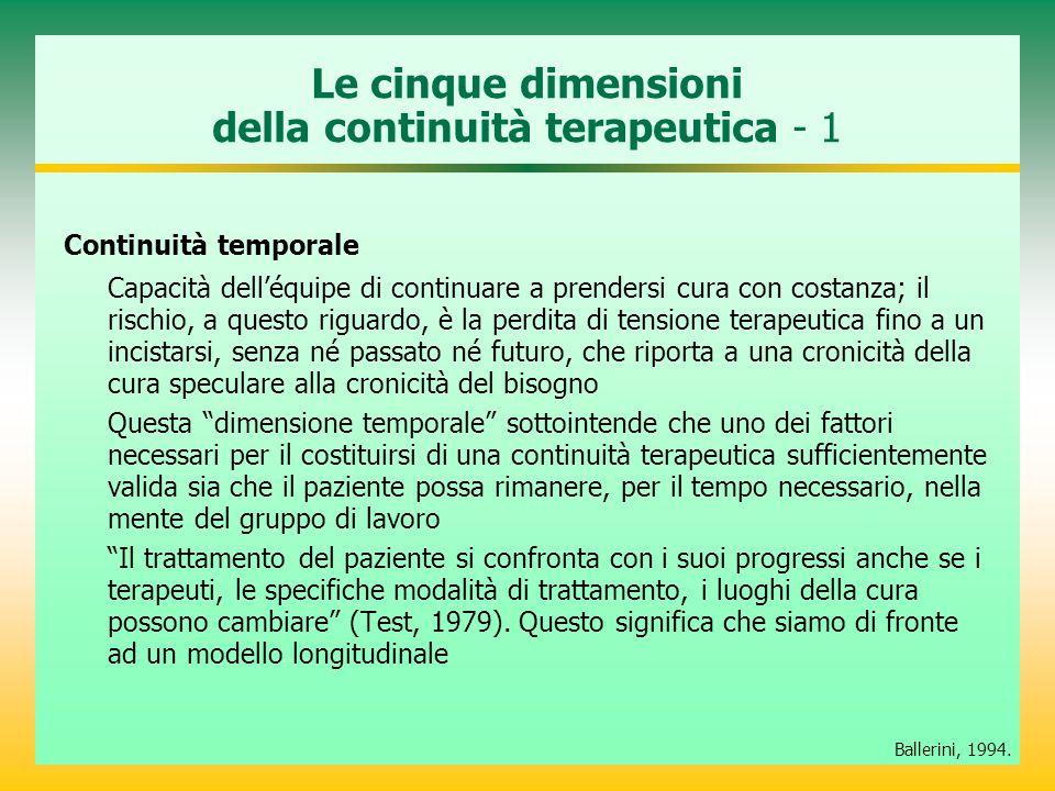 Le cinque dimensioni della continuità terapeutica - 1