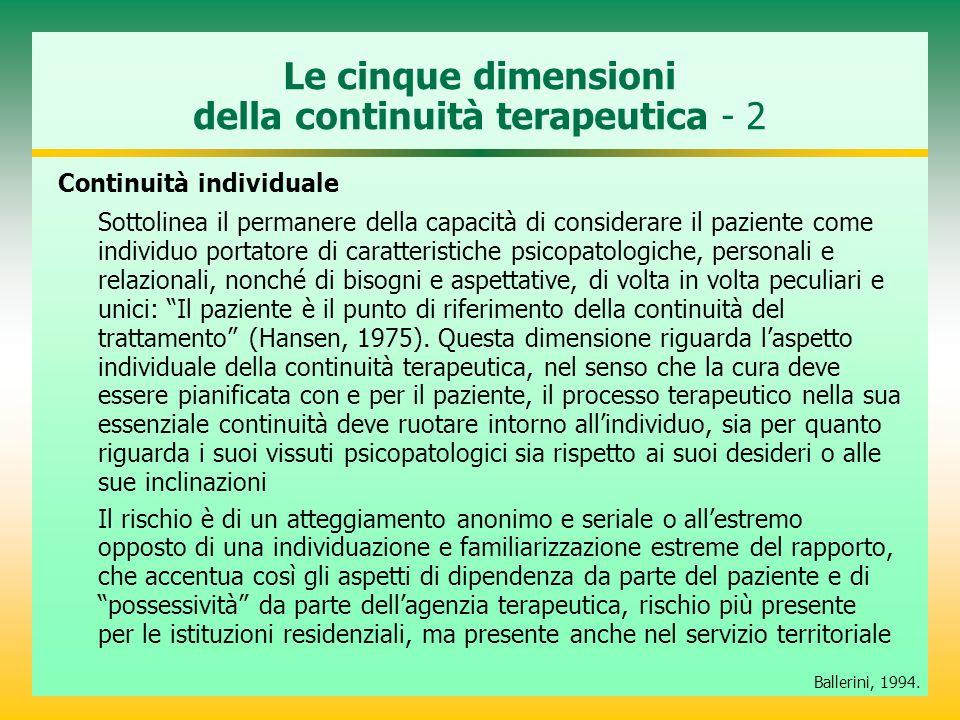 Le cinque dimensioni della continuità terapeutica - 2
