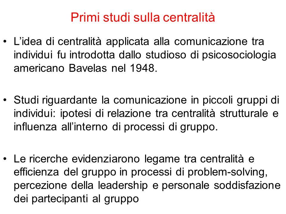 Primi studi sulla centralità