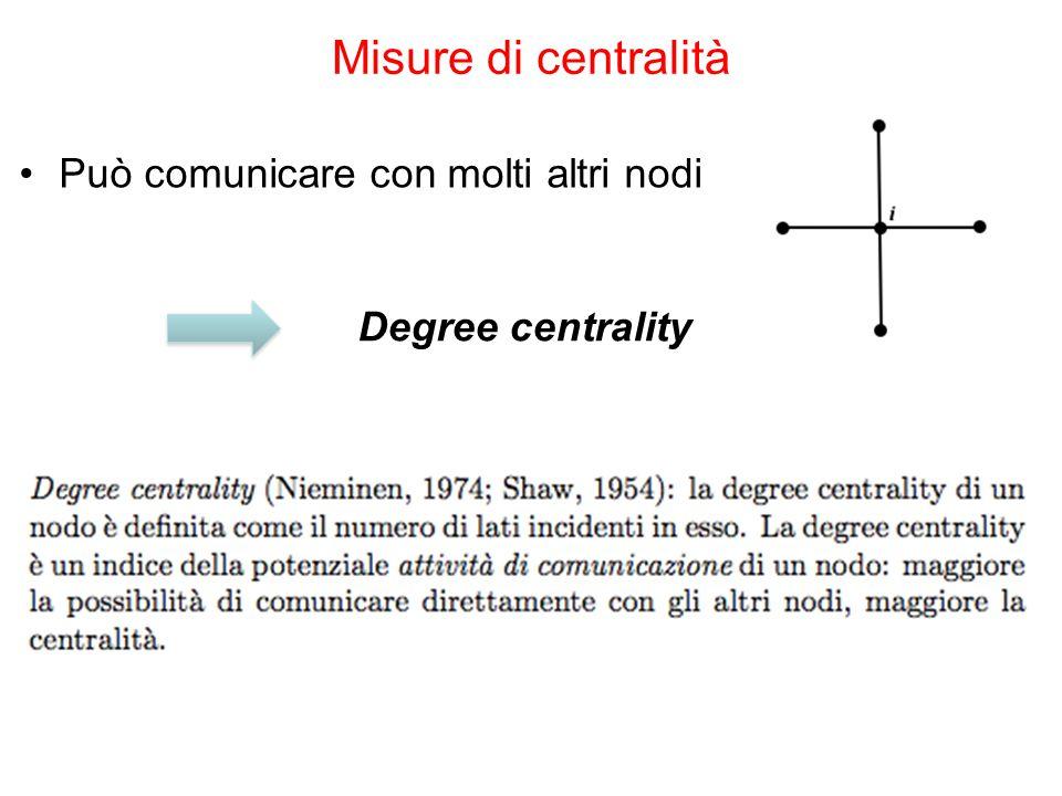 Misure di centralità Può comunicare con molti altri nodi