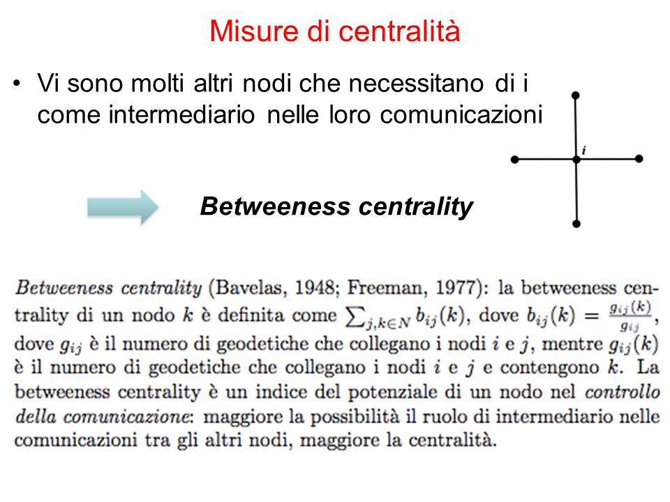 Misure di centralità Vi sono molti altri nodi che necessitano di i come intermediario nelle loro comunicazioni.