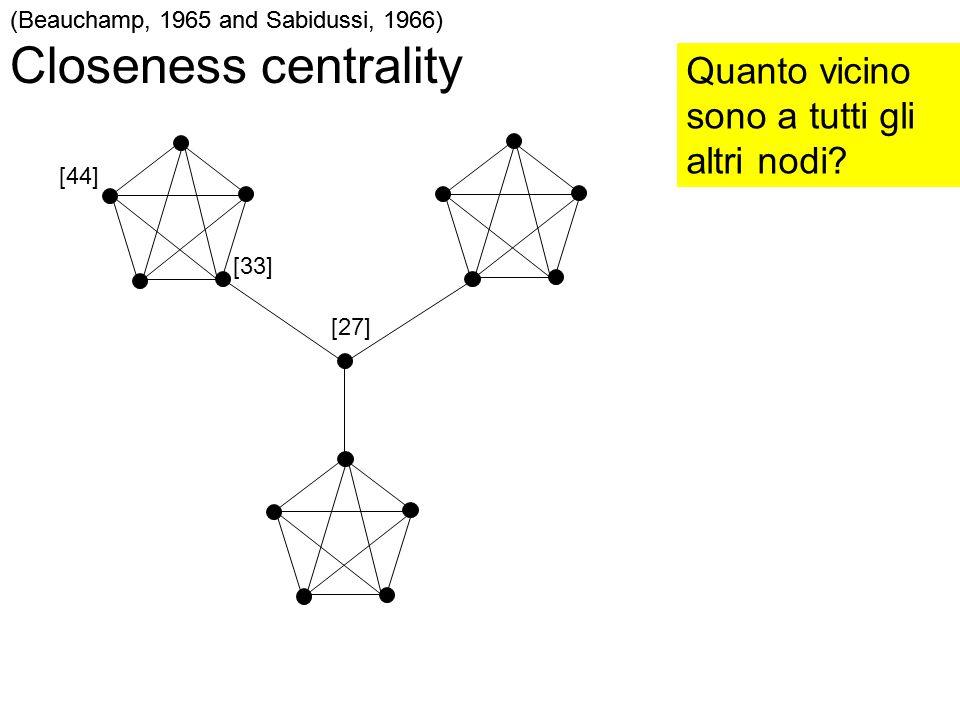 Closeness centrality Quanto vicino sono a tutti gli altri nodi