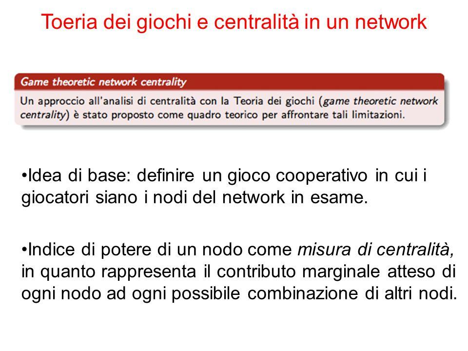 Toeria dei giochi e centralità in un network