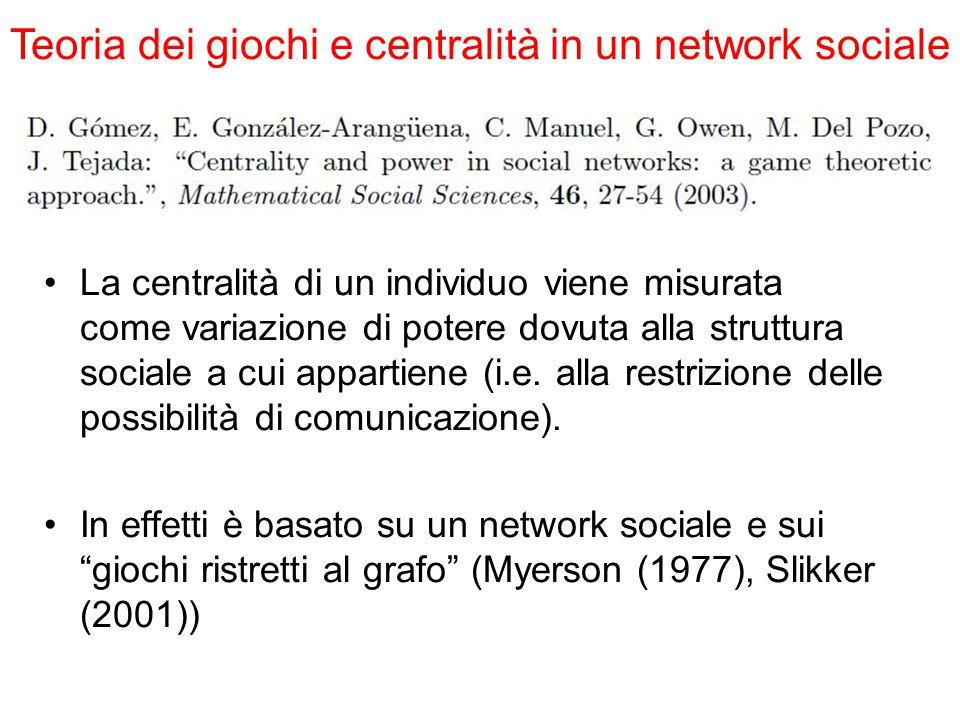 Teoria dei giochi e centralità in un network sociale