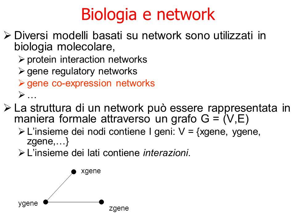 Biologia e network Diversi modelli basati su network sono utilizzati in biologia molecolare, protein interaction networks.