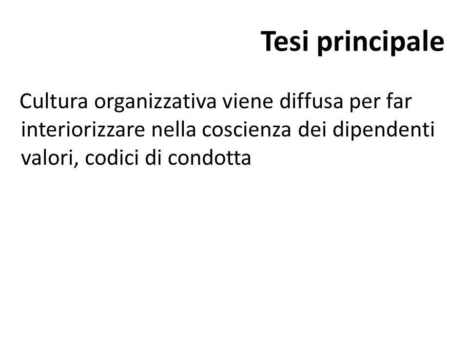 Tesi principale Cultura organizzativa viene diffusa per far interiorizzare nella coscienza dei dipendenti valori, codici di condotta.
