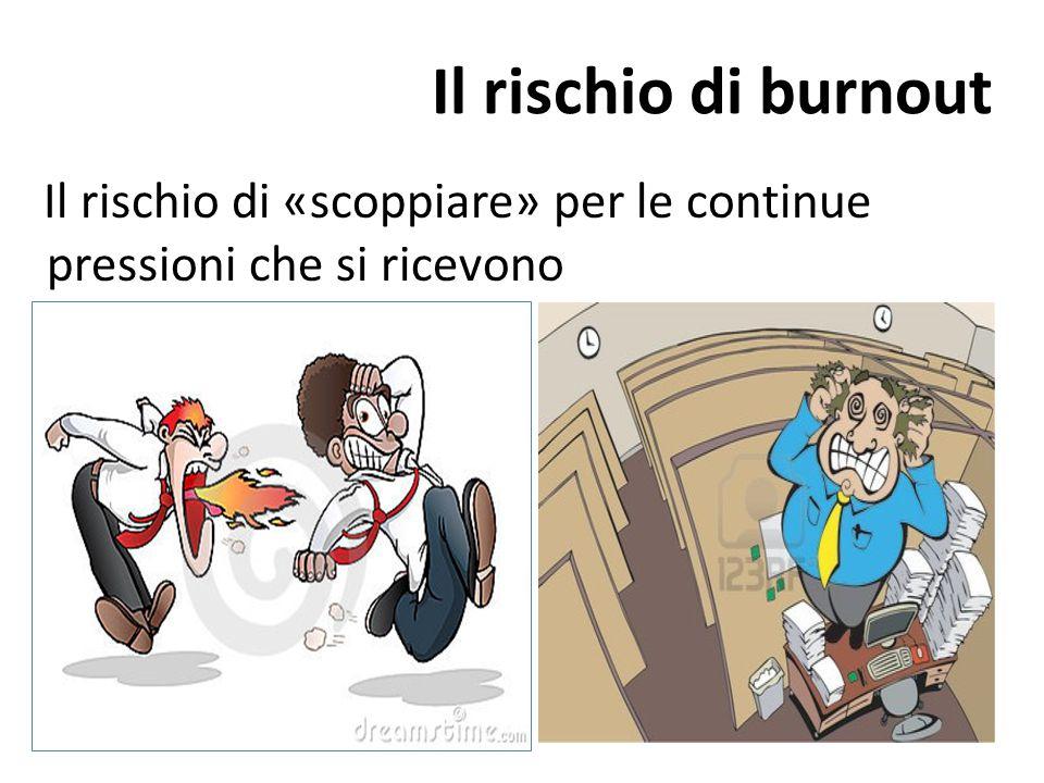 Il rischio di burnout Il rischio di «scoppiare» per le continue pressioni che si ricevono