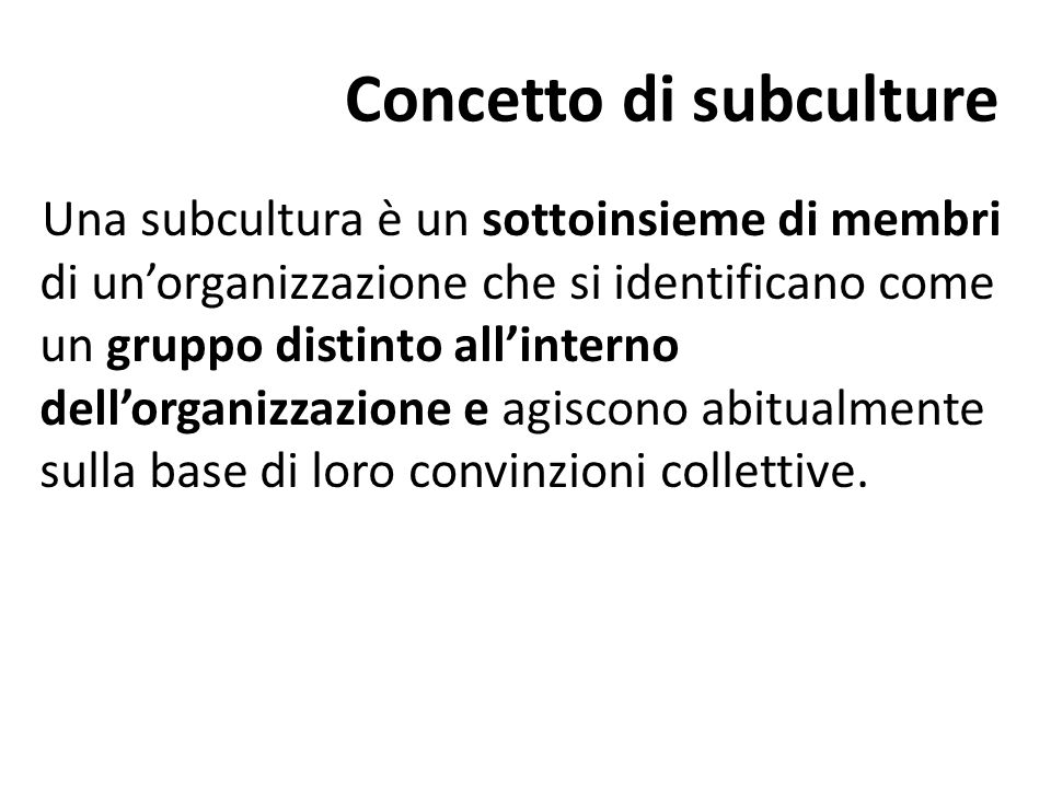 Concetto di subculture