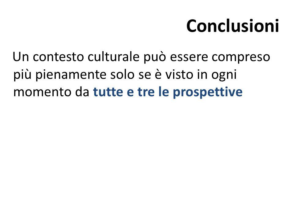 Conclusioni Un contesto culturale può essere compreso più pienamente solo se è visto in ogni momento da tutte e tre le prospettive.