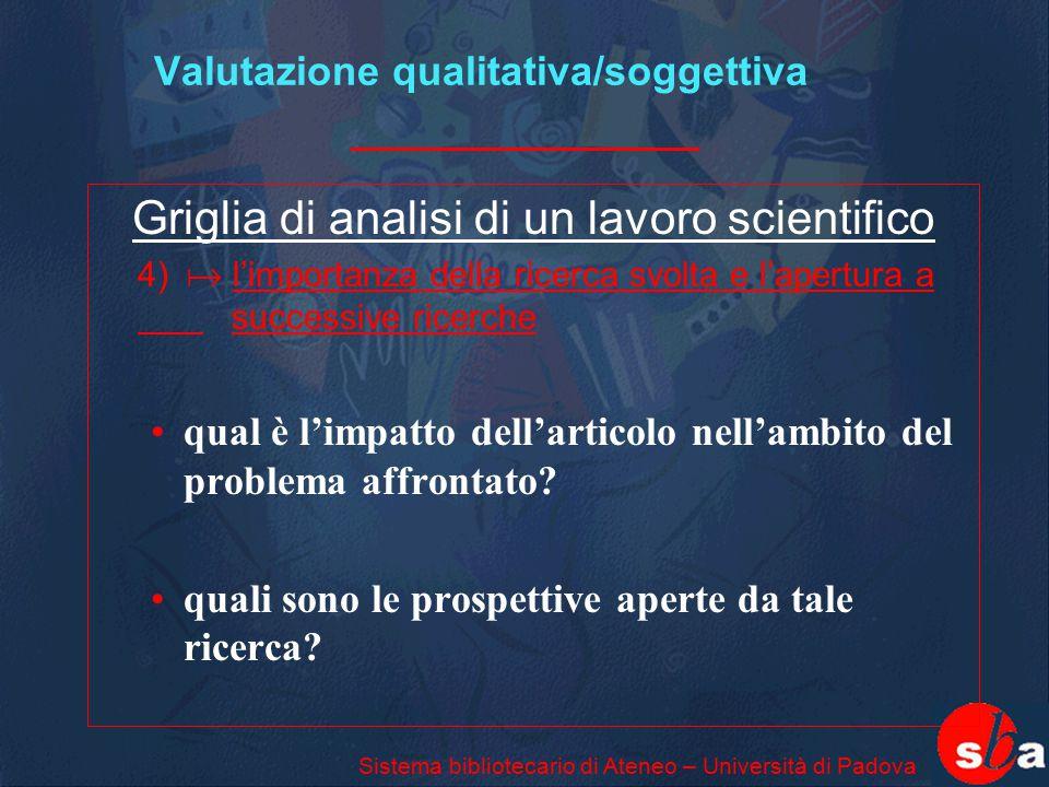 Valutazione qualitativa/soggettiva