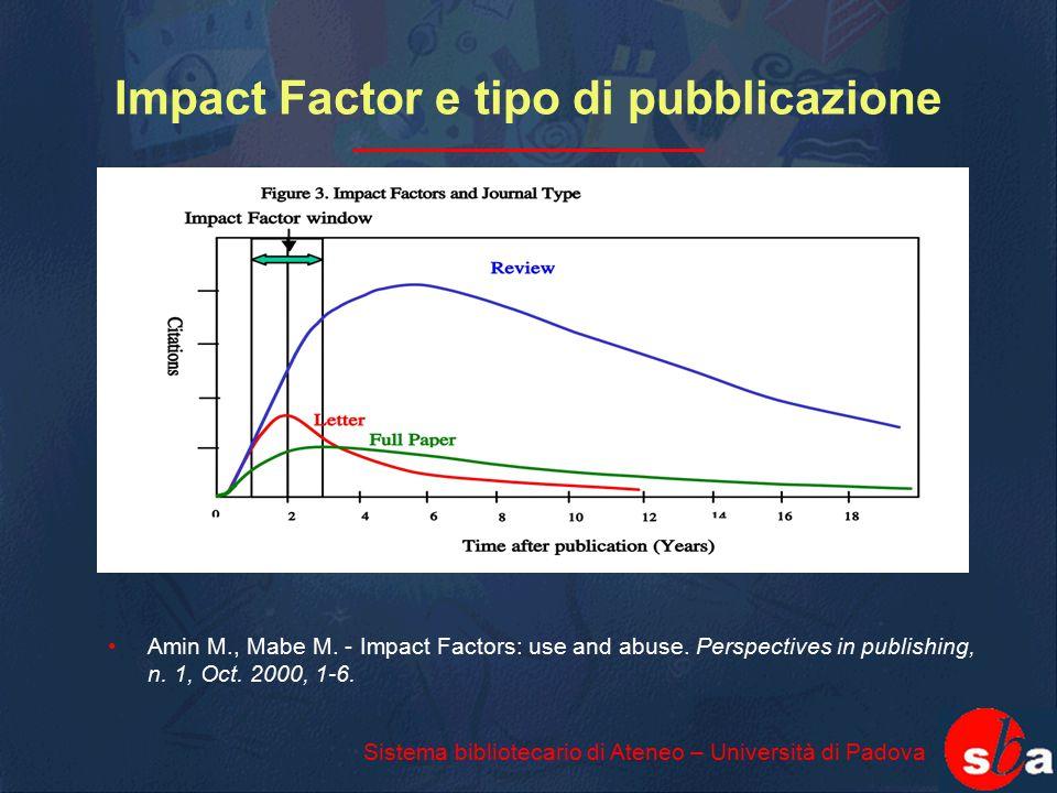 Impact Factor e tipo di pubblicazione