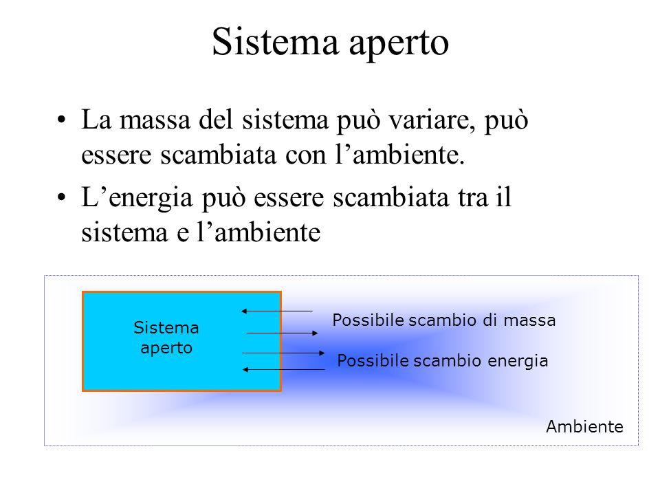 Sistema aperto La massa del sistema può variare, può essere scambiata con l'ambiente. L'energia può essere scambiata tra il sistema e l'ambiente.