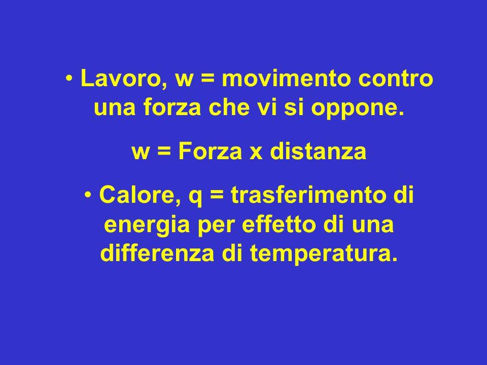 Lavoro, w = movimento contro una forza che vi si oppone.