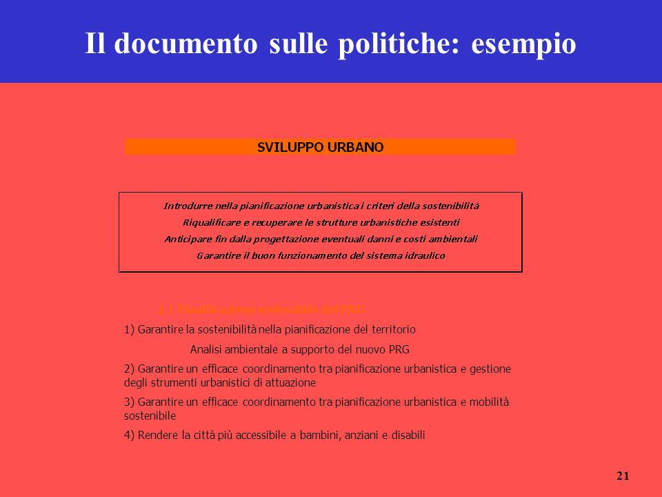 Il documento sulle politiche: esempio