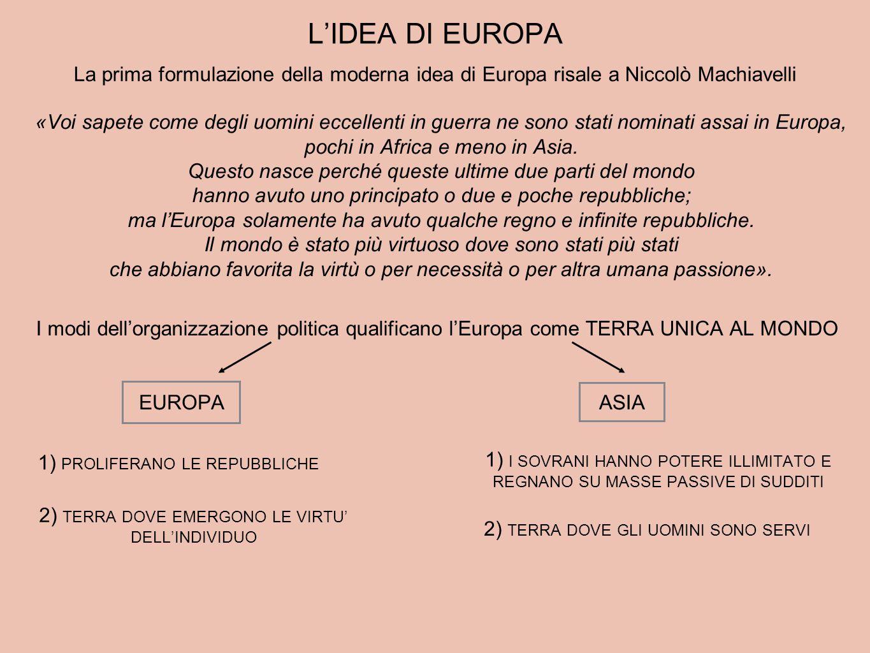 L'IDEA DI EUROPA La prima formulazione della moderna idea di Europa risale a Niccolò Machiavelli.