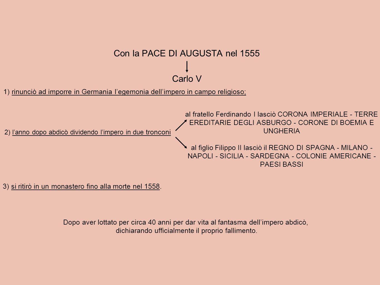 Con la PACE DI AUGUSTA nel 1555