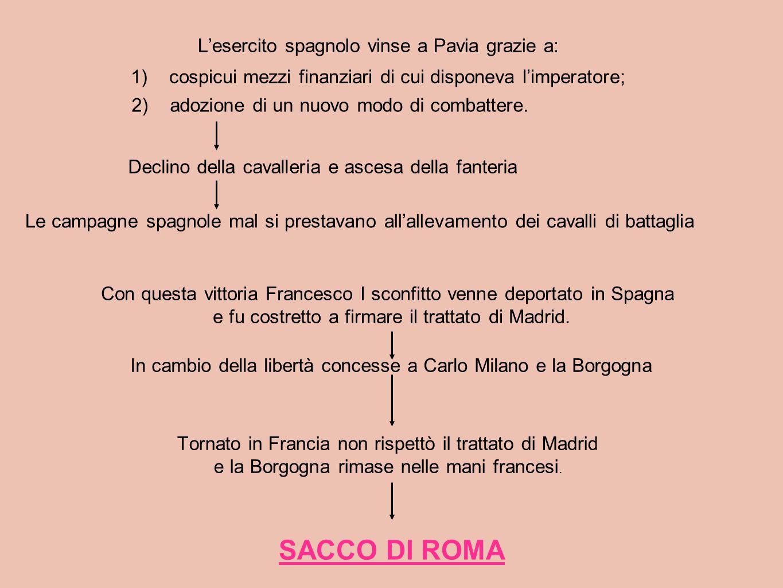 SACCO DI ROMA L'esercito spagnolo vinse a Pavia grazie a: