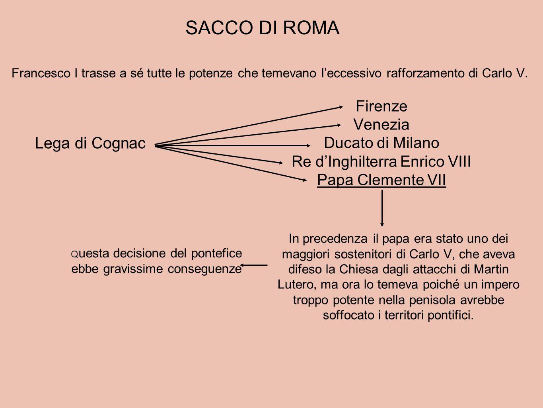 SACCO DI ROMA Lega di Cognac Firenze Venezia Ducato di Milano