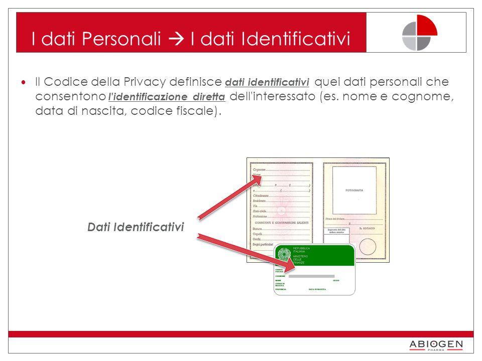 I dati Personali  I dati Identificativi