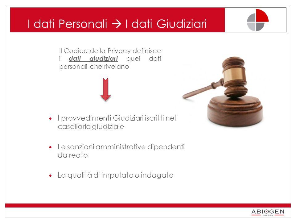 I dati Personali  I dati Giudiziari
