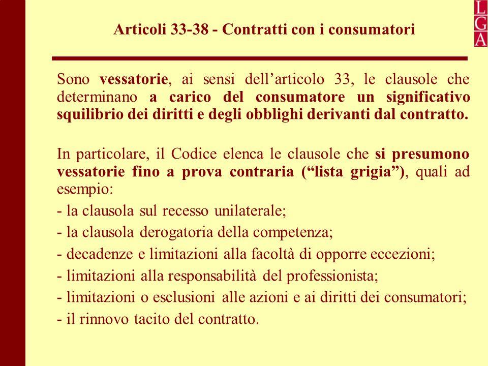 Articoli 33-38 - Contratti con i consumatori