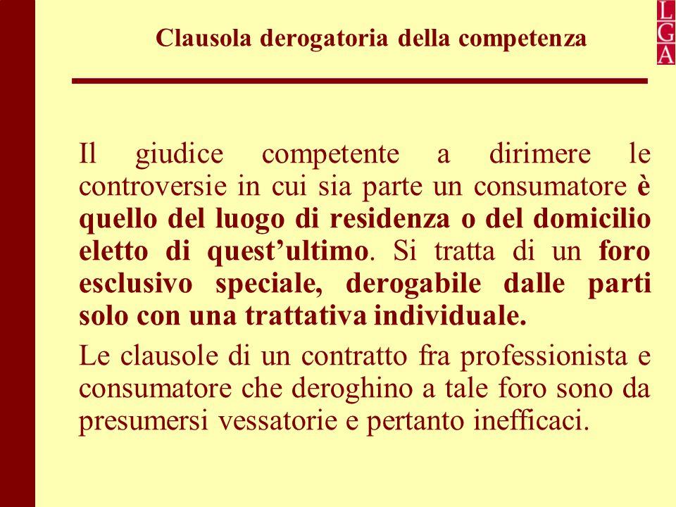 Clausola derogatoria della competenza