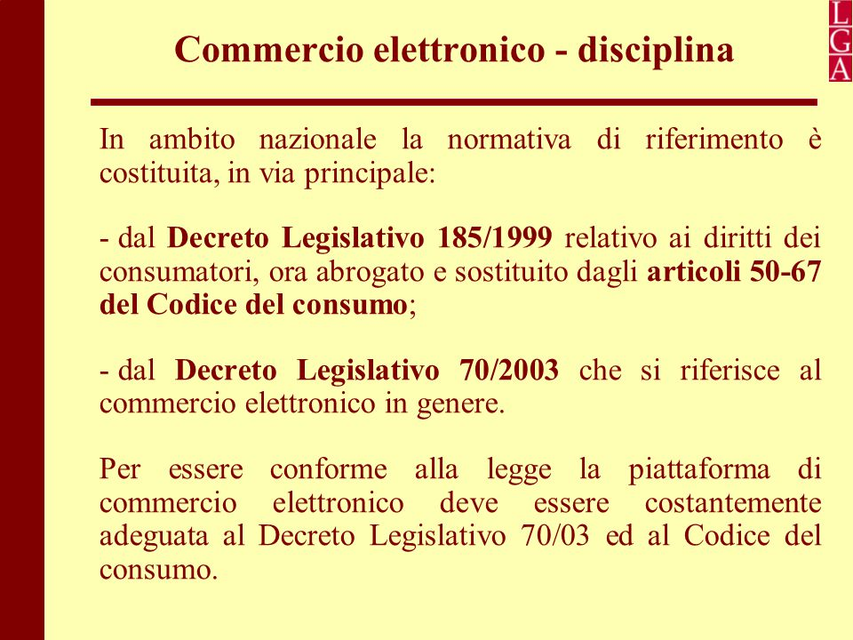 Commercio elettronico - disciplina