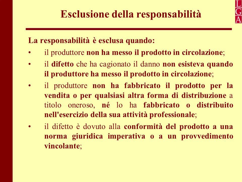 Esclusione della responsabilità