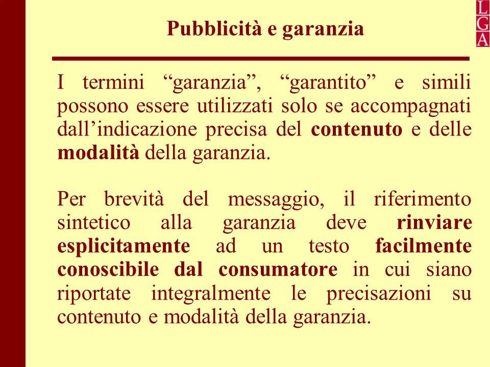 Pubblicità e garanzia