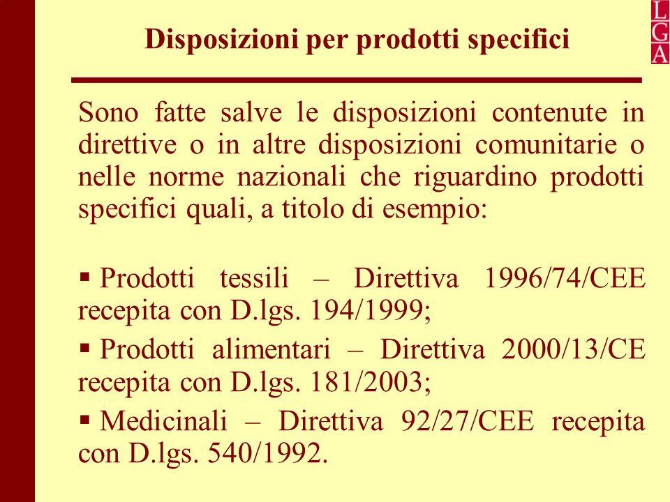 Disposizioni per prodotti specifici