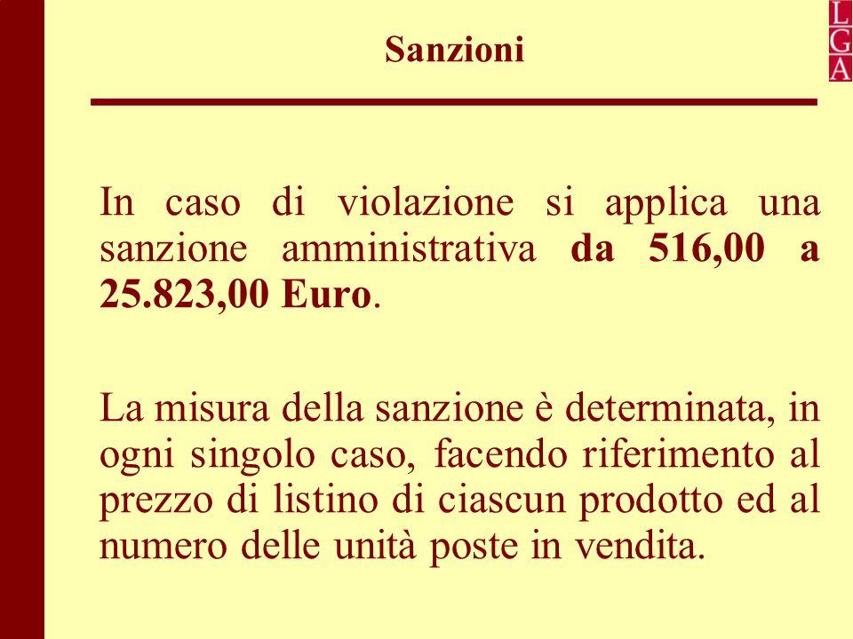 Sanzioni In caso di violazione si applica una sanzione amministrativa da 516,00 a 25.823,00 Euro.