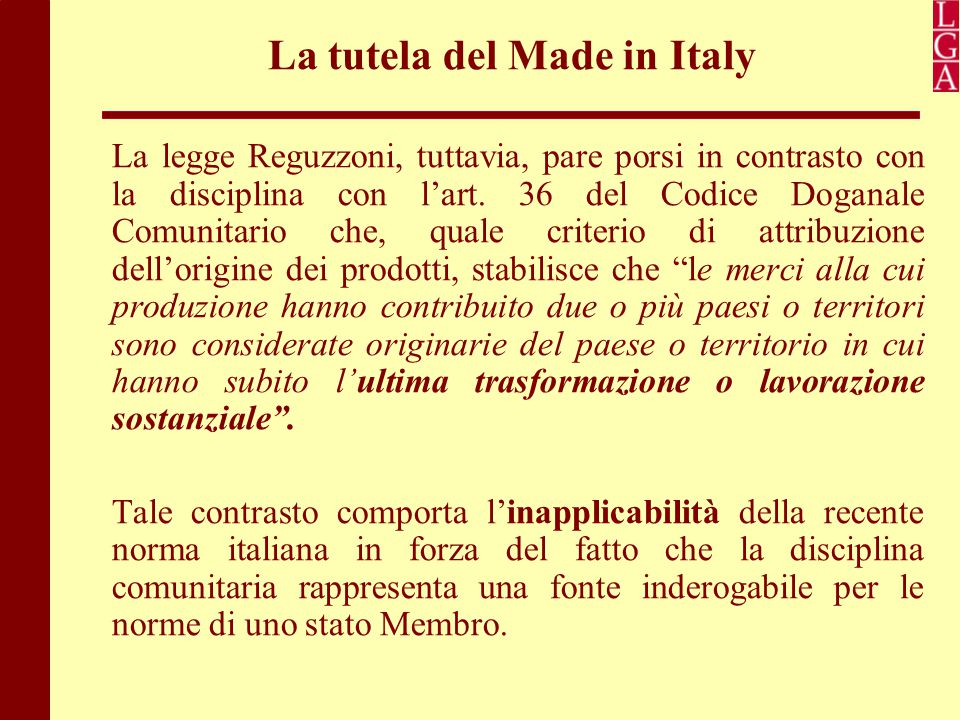 La tutela del Made in Italy
