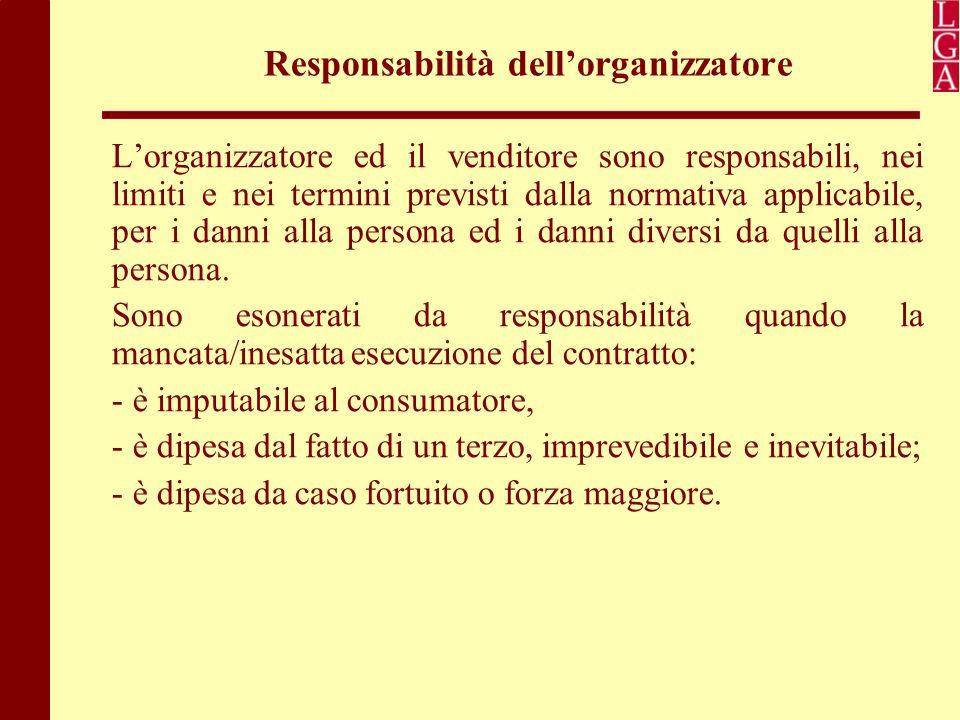 Responsabilità dell'organizzatore