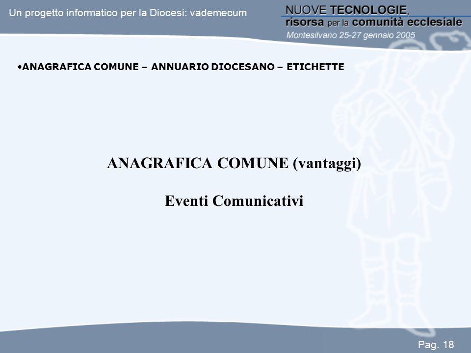 ANAGRAFICA COMUNE (vantaggi) Eventi Comunicativi