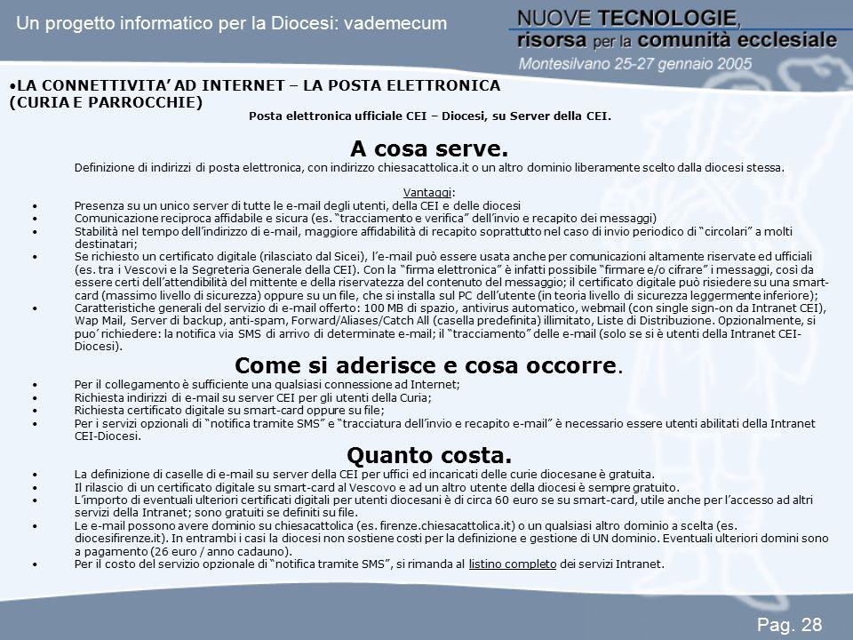 Posta elettronica ufficiale CEI – Diocesi, su Server della CEI.