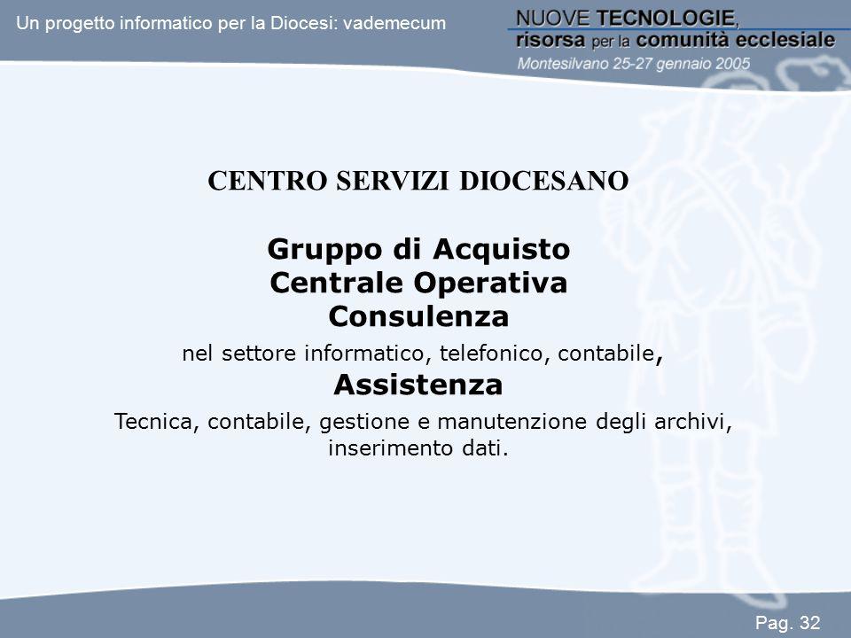 CENTRO SERVIZI DIOCESANO Gruppo di Acquisto Centrale Operativa