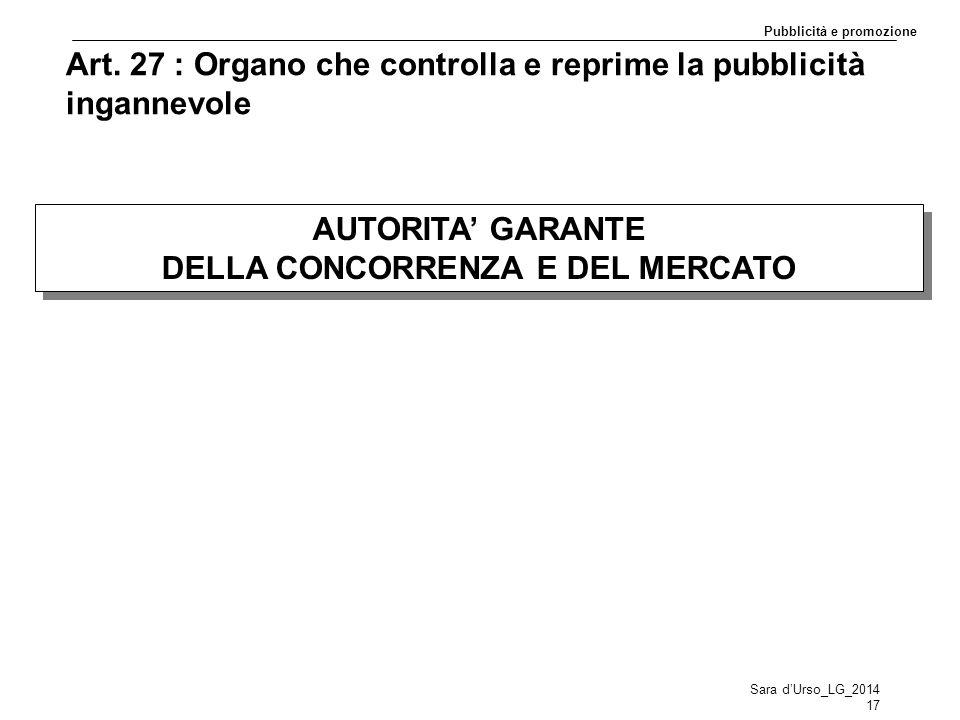 Art. 27 : Organo che controlla e reprime la pubblicità ingannevole