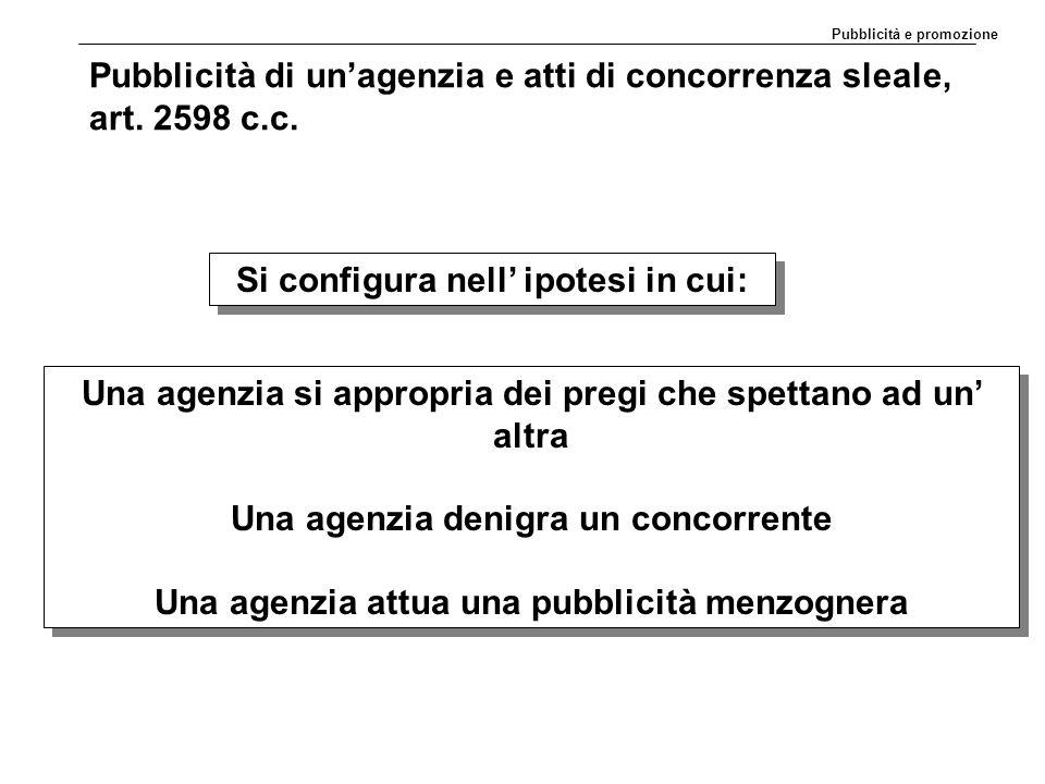 Pubblicità di un'agenzia e atti di concorrenza sleale, art. 2598 c.c.