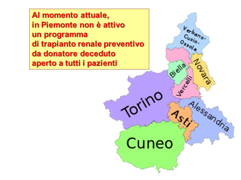Al momento attuale, in Piemonte non è attivo. un programma. di trapianto renale preventivo. da donatore deceduto.