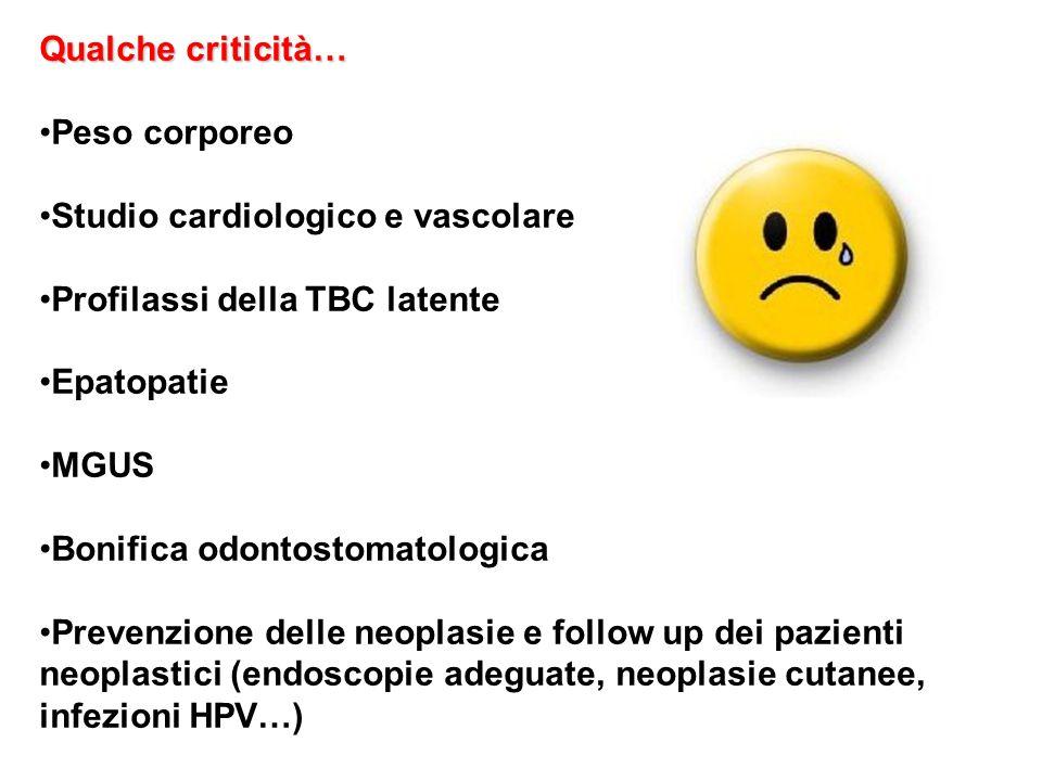 Qualche criticità… Peso corporeo. Studio cardiologico e vascolare. Profilassi della TBC latente. Epatopatie.