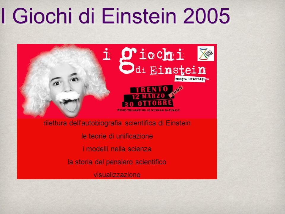 I Giochi di Einstein 2005rilettura dell'autobiografia scientifica di Einstein. le teorie di unificazione.