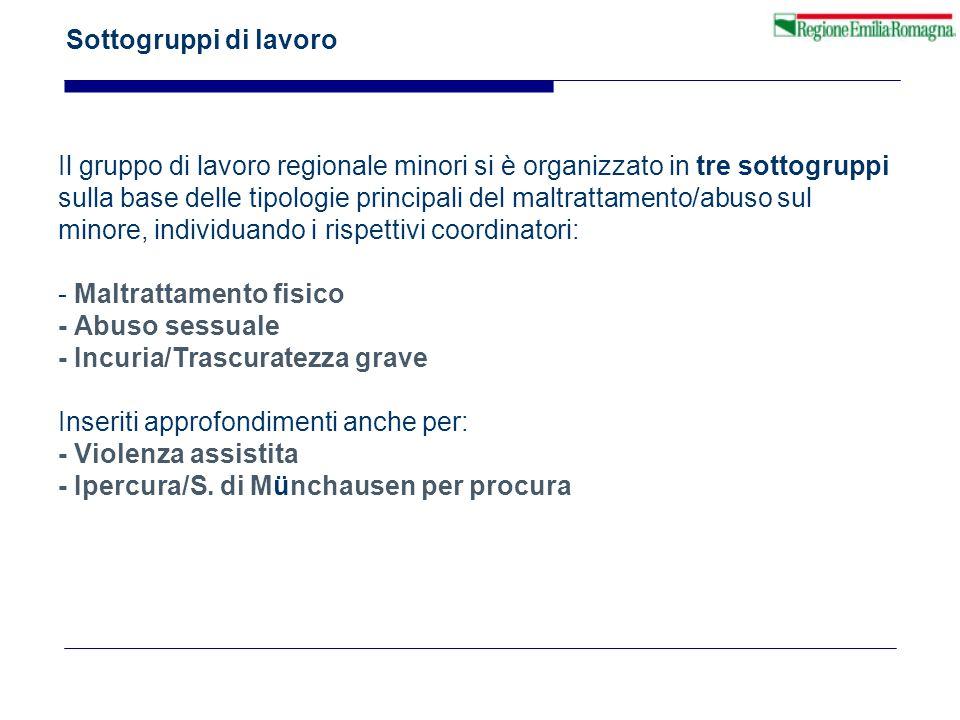 Sottogruppi di lavoro Il gruppo di lavoro regionale minori si è organizzato in tre sottogruppi.