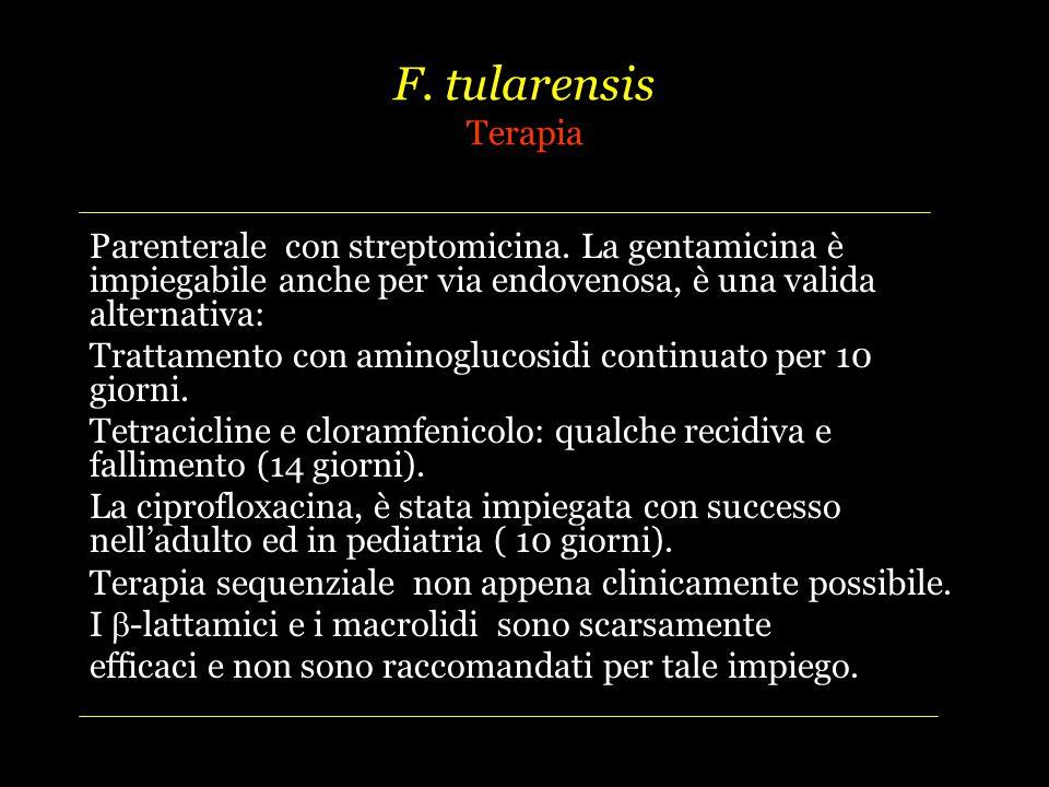 F. tularensis Terapia Parenterale con streptomicina. La gentamicina è impiegabile anche per via endovenosa, è una valida alternativa: