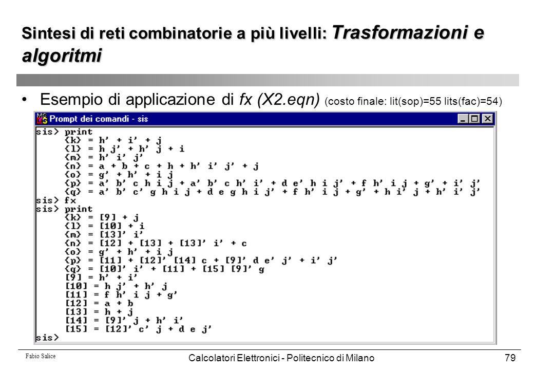 Sintesi di reti combinatorie a più livelli: Trasformazioni e algoritmi
