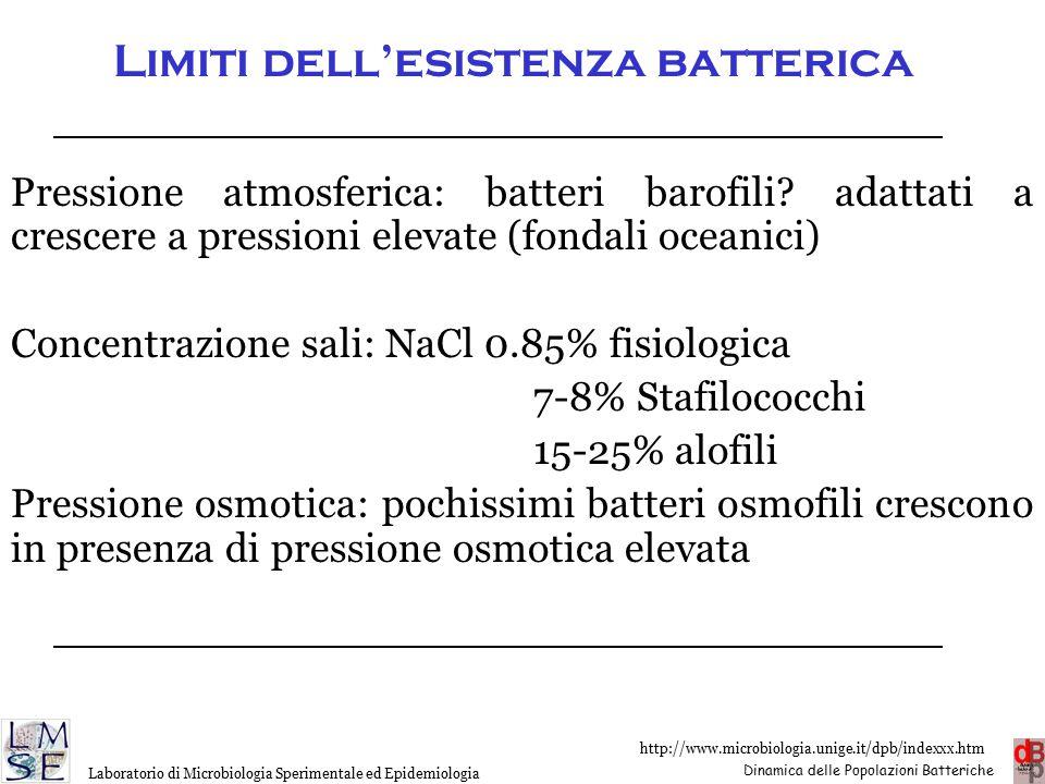 Limiti dell'esistenza batterica