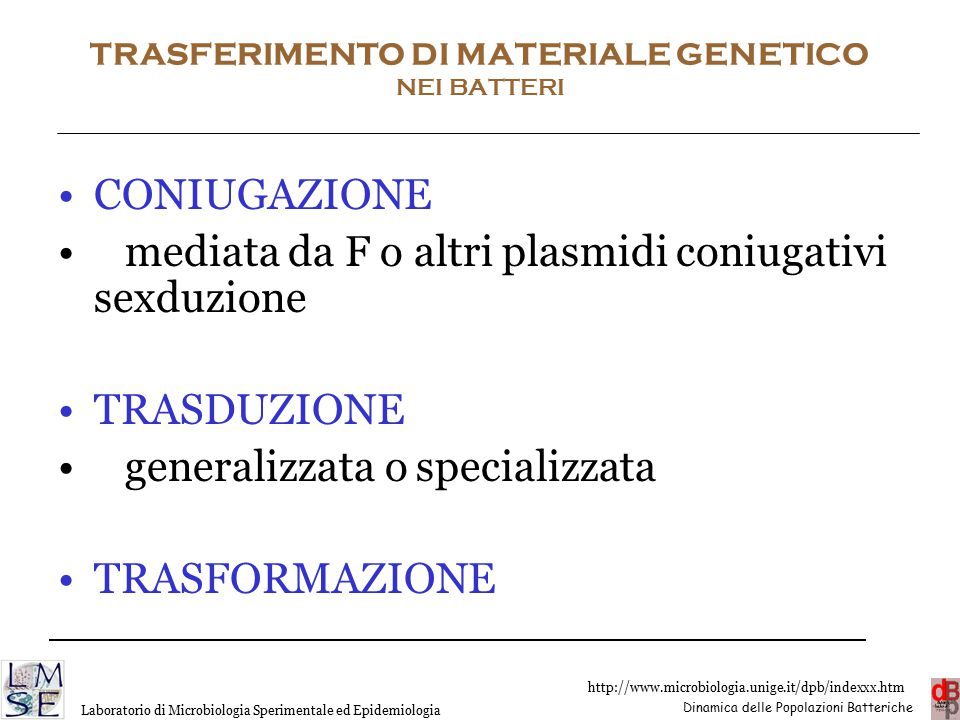 TRASFERIMENTO DI MATERIALE GENETICO NEI BATTERI