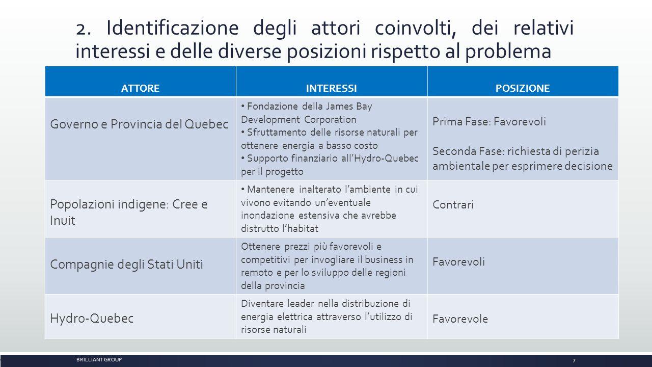 2. Identificazione degli attori coinvolti, dei relativi interessi e delle diverse posizioni rispetto al problema