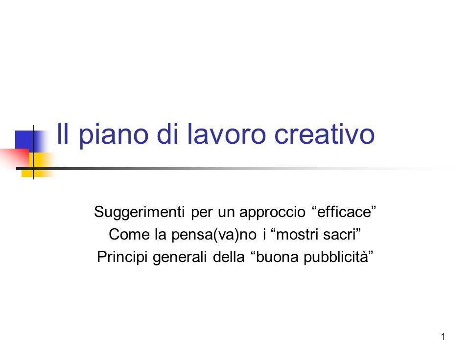 Il piano di lavoro creativo