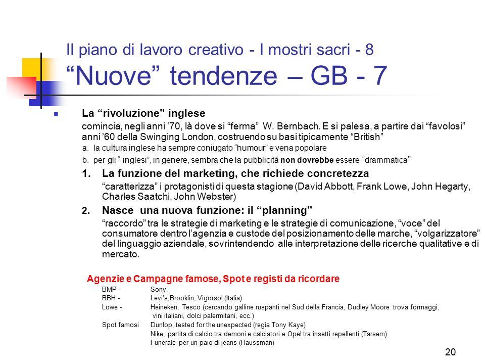 Il piano di lavoro creativo - I mostri sacri - 8 Nuove tendenze – GB - 7