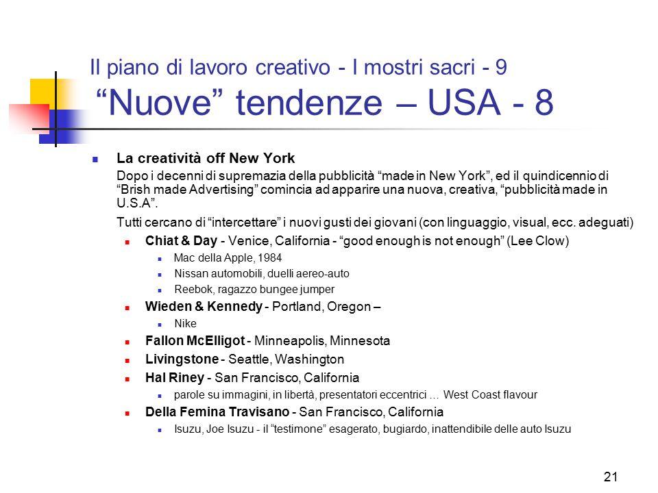 Il piano di lavoro creativo - I mostri sacri - 9 Nuove tendenze – USA - 8